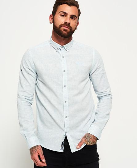 slub blue Superdry Riviera linen skjorte med lange ærmer