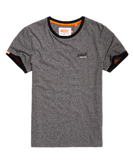 karbongrau gesprenkelt Superdry Orange Label Cali Ringer T-Shirt