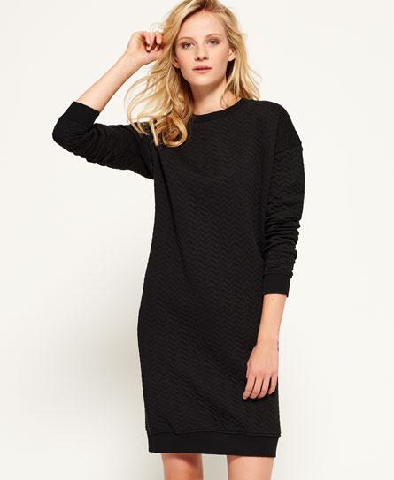black Superdry Gestepptes Nordic Kleid