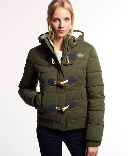 Superdry Microfibre Toggle Puffer Jacket Green
