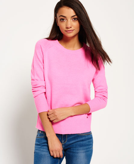 manhattan pink Superdry Downtown Raglan Knitted Jumper