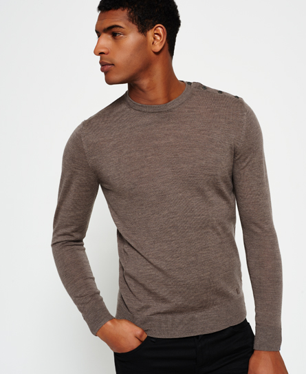 dark biscuit marl Superdry Call Sheet Merino Button Crew Neck Sweater