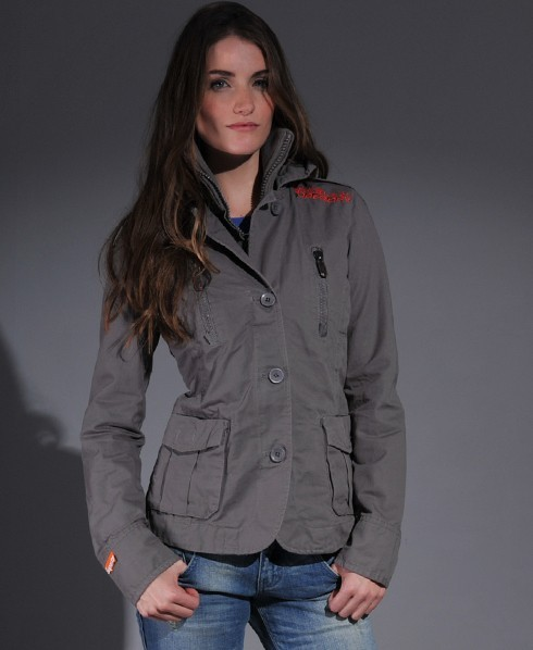 Womens - Military Blazer V10 in True Grey | Superdry