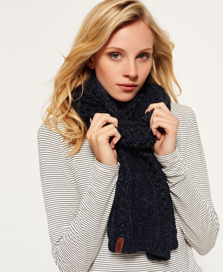 fortune navy sparkle Superdry North Cable Scarf