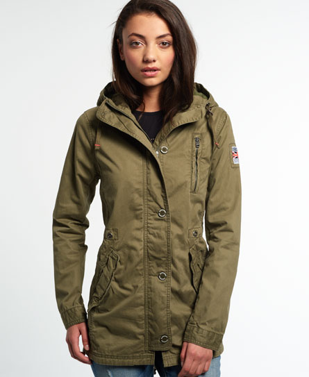 Womens - Rookie Military Parka Jacket in Deepest Army | Superdry