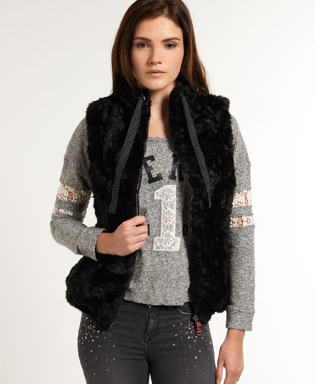 schwarz Superdry Antarctic Faux Fur Weste