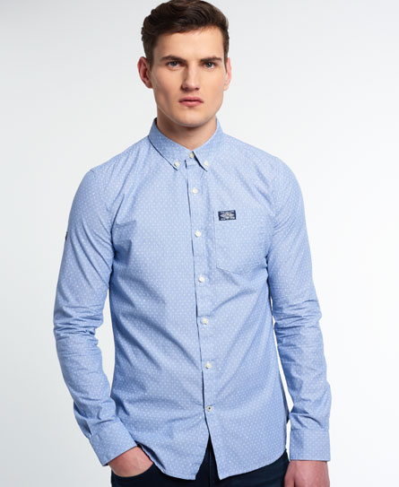 blue fine stripe/white diamond dot Superdry Shoreditch Button Down Shirt