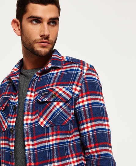 michigan navy check Superdry Milled Flannel Hemd