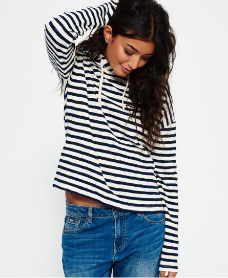 navy/ecru stripe Superdry Stripe Pier Hoodie