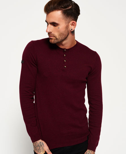 plum/port Superdry Orange Label Grandad-Strickpulli