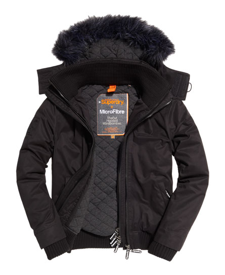 black/black Superdry Microfibre Fur Hooded Windbomber Jacket