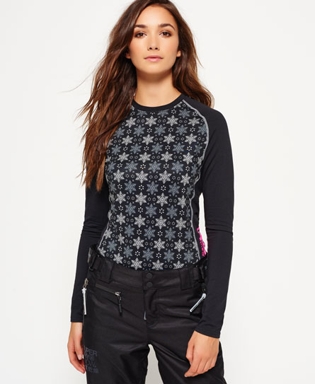Superdry All Over Print Carbon Base Layer Top Black