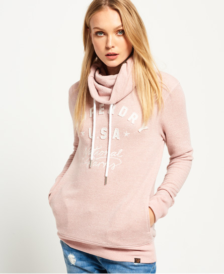 canyon pink Superdry Applique Funnel Hoodie