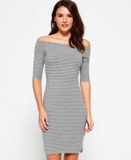 fresh grey marl/eclipse navy stripe Superdry Breton Bardot Stripe Dress