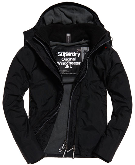 black/rock Superdry Pop Zip Hooded Arctic Windcheater Jacket