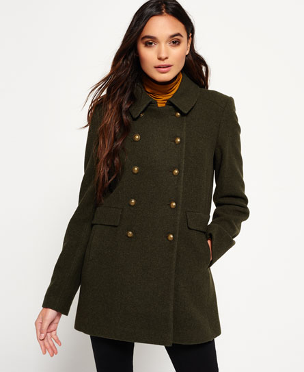 Superdry Military Pea Coat Green - Womens - Military Pea Coat In Khaki Superdry