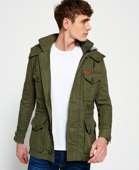 Mens - Rookie Service Parka Jacket in Fury Green | Superdry