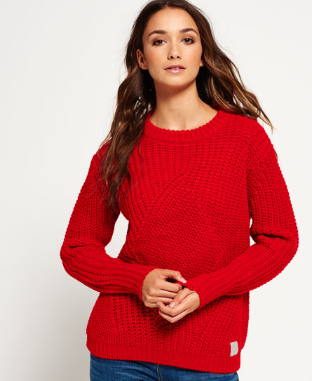 courage red Superdry Albany Textured Knit Pullover