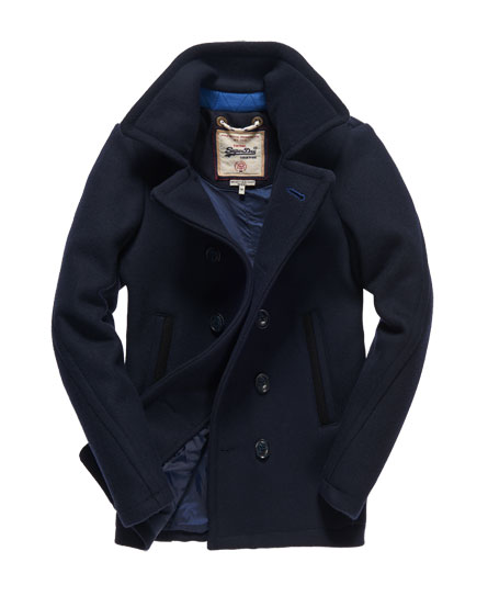 Mens - Premium Pea Coat in Navy | Superdry