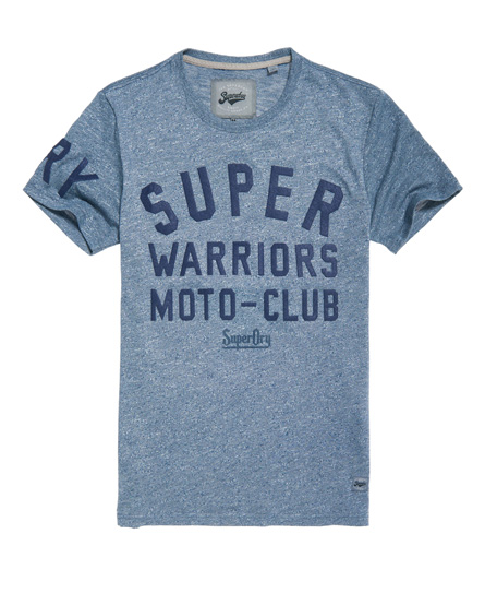 halbdunkelblau gesprenkelt Superdry Warriors Biker T-Shirt