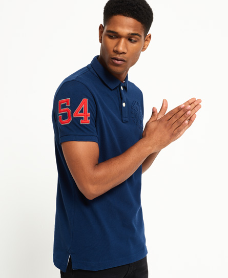 boston blue Superdry Classic Embossed Pique Polo Shirt