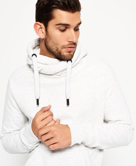 silver heather marl Superdry Crossover Hoodie