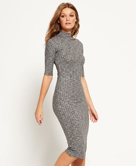 Superdry Freja Collar Midi Dress Dark Grey