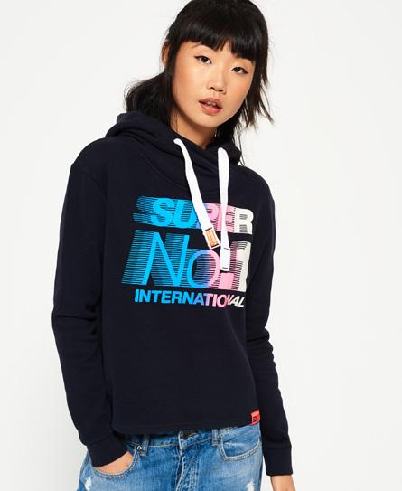 sport code navy Superdry International Crop Hoodie