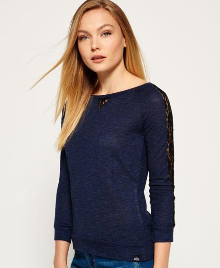 belle blue twist Superdry Slubby Twist Jerseyshirt mit Spitze