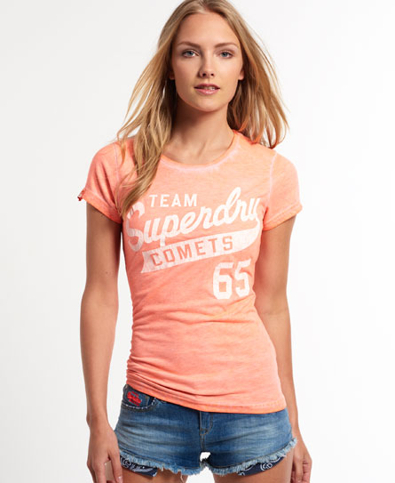 womens team comets t shirt in ice marl fluro coral. Black Bedroom Furniture Sets. Home Design Ideas