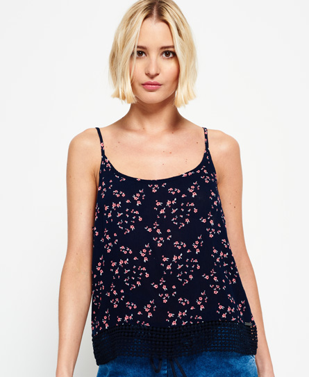 ditsy floral pink Superdry Castaway Lacy Cami Top