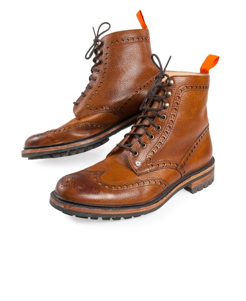 Mens - Premium Brogue Boots in Almond/brushed Grain | Superdry