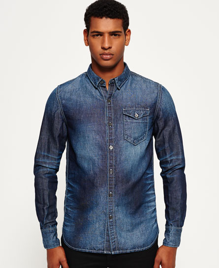crossfire blue Superdry IE Ghost Button Down Denim Shirt
