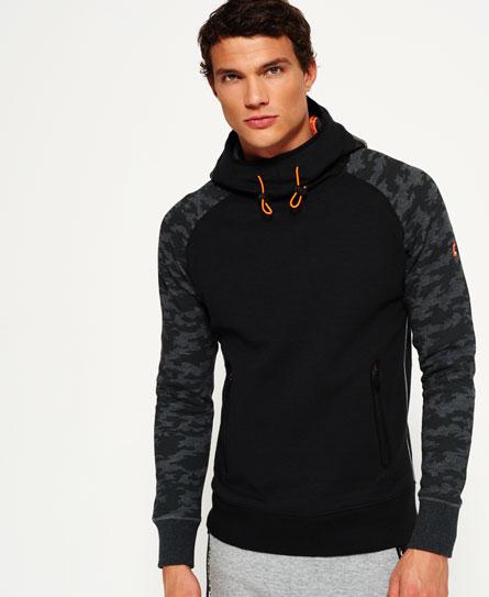 黑色/黑色迷彩 Superdry Gym Tech插肩袖连帽卫衣