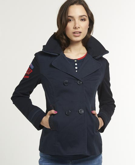 Womens - Liberty Cotton Peacoat in Navy | Superdry