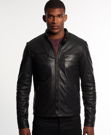 Superdry Leading Leather Biker Jacket - Mens Idris Jackets and Coats