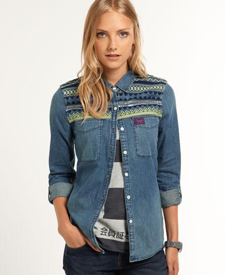 superdry chemise en jean flag chemises pour femme. Black Bedroom Furniture Sets. Home Design Ideas