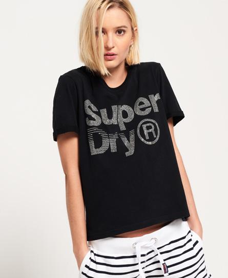 Kastenförmiges T-Shirt mit Strassbesatz