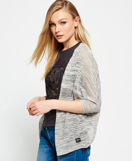 Superdry Nevada Springs Slub Cardigan  Grey