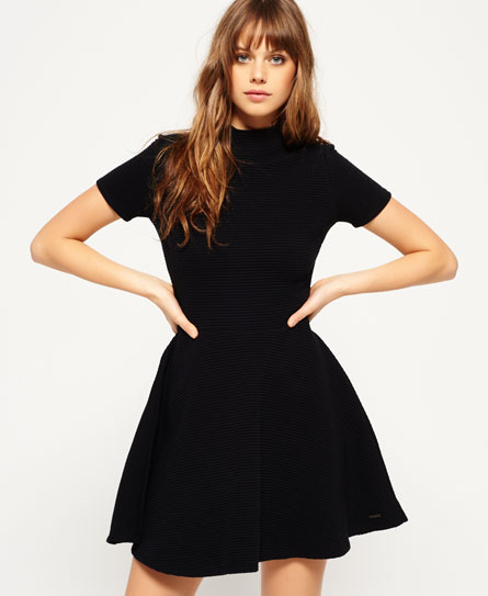 black Superdry Erin Collar Dress