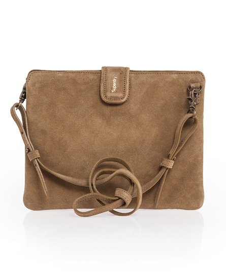 Superdry Tablet Shoulder Purse Brown