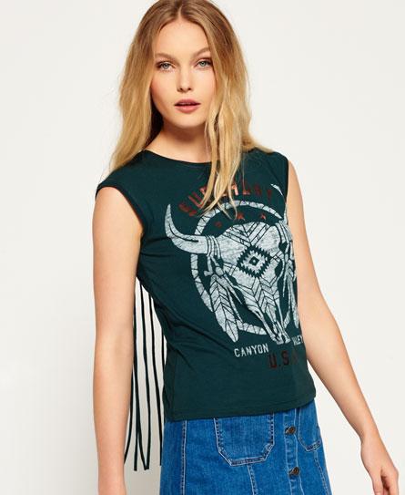 forest Superdry Savanna Fringe Skull T-Shirt
