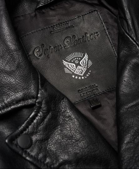 Superdry Schmal geschnittene Bikerjacke aus gewaschenem Leder