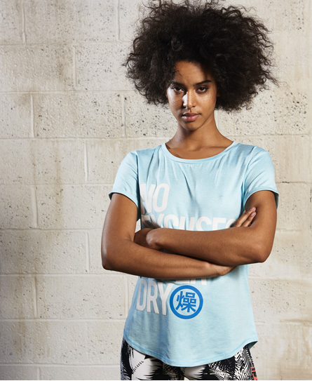 sky marl Superdry Sport Fitspo T-Shirt