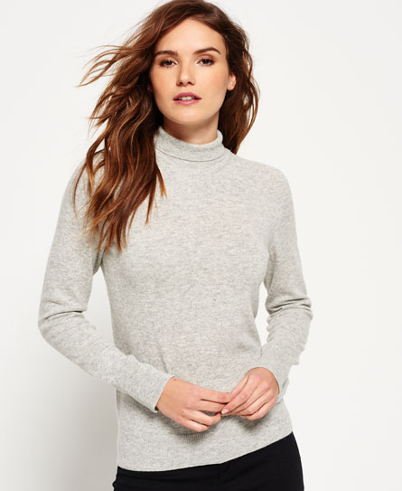 Superdry Luxe Skinny High Neck Knit Jumper Grey