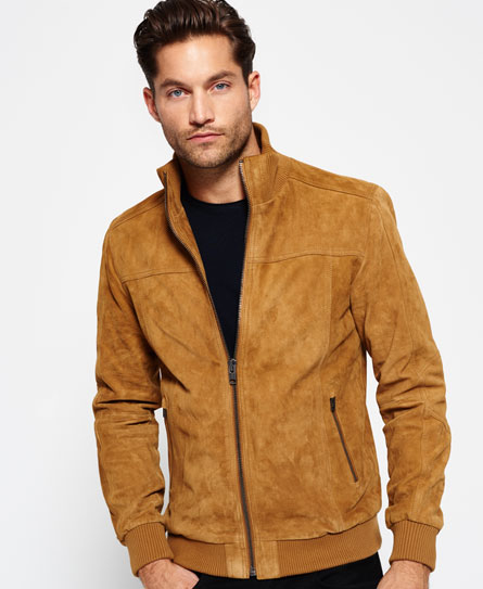 Mens - Hutch Suede Bomber Jacket in Camel | Superdry