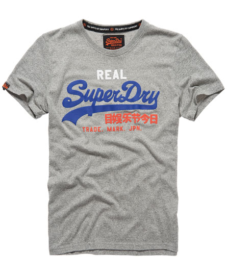 Mens vintage logo t shirt in dark grit grey superdry for Old logo t shirts