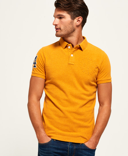 warm gold grit Superdry Classic Embossed Pique Polo Shirt
