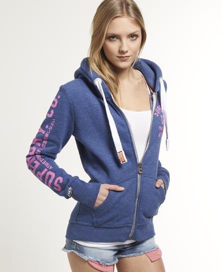 womens track field zip hoodie in ensign blue marl. Black Bedroom Furniture Sets. Home Design Ideas