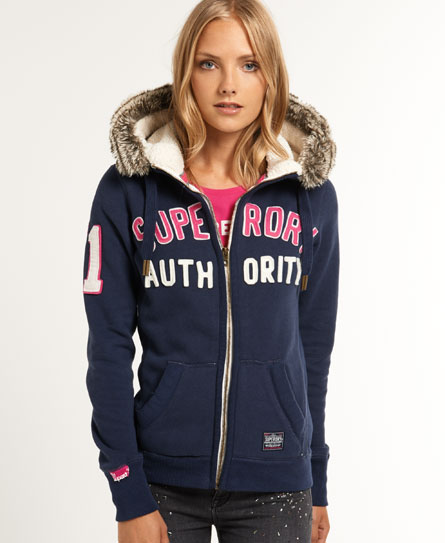 womens nordic arctic hoodie in lauren navy superdry. Black Bedroom Furniture Sets. Home Design Ideas